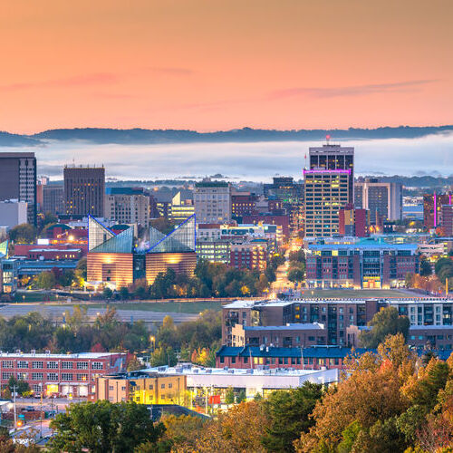 Chattanooga, Tennessee, USA downtown city skyline at dusk.