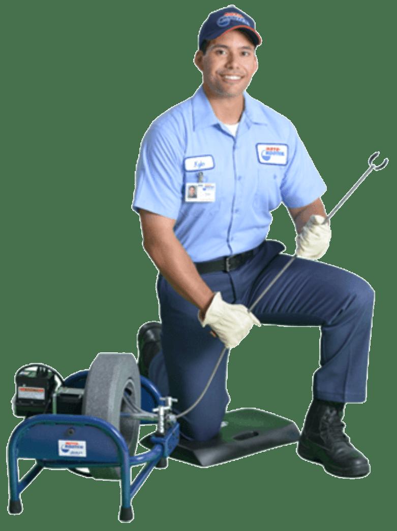 kneeling technician with equipment